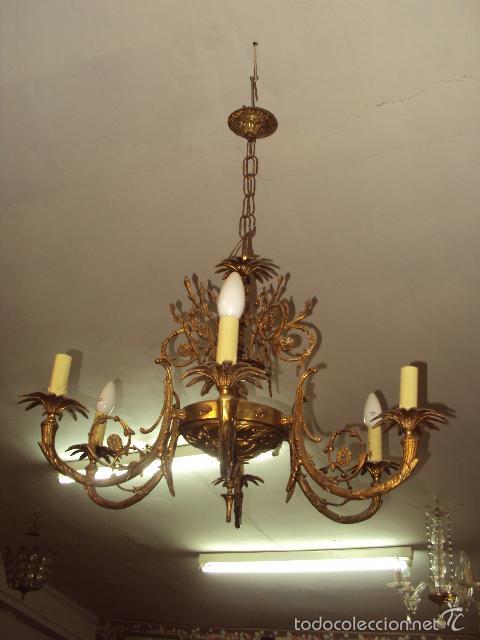 Antigüedades: Antigua lámpara de bronce - Foto 3 - 57742453