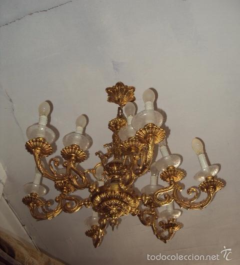 Antigüedades: Antigua lámpara de bronce - Foto 2 - 57742925