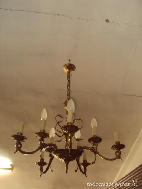 Antigüedades: Antigua lámpara de bronce - Foto 3 - 57742975