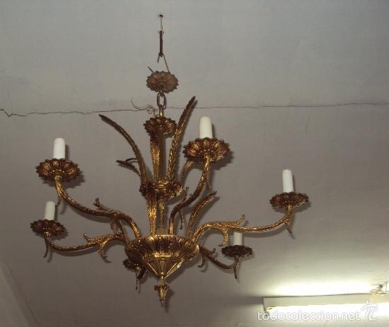 Antigüedades: Antigua lámpara de bronce - Foto 2 - 57743027