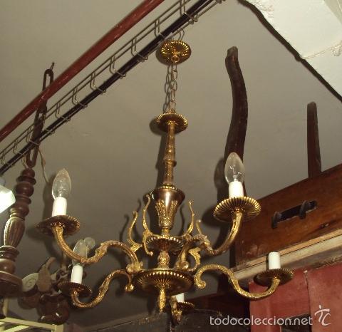 Antigüedades: Antigua lámpara de bronce - Foto 2 - 57743166