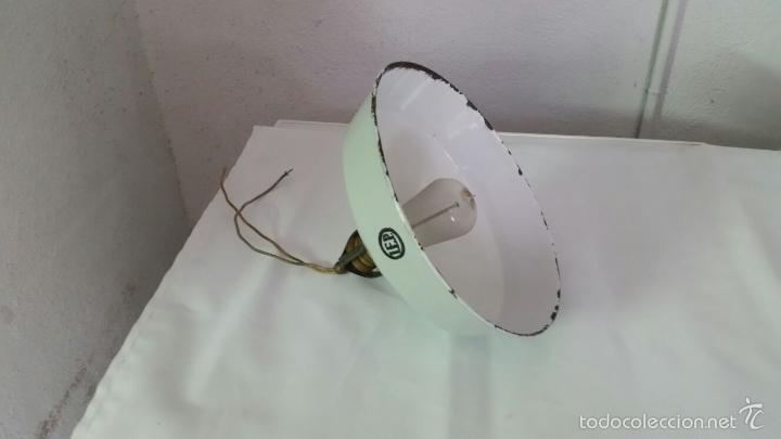 LAMPARA INDUSTRIAL BUENISIMA MARCA LEP,PANTALLA DE HIERRO ESMALTADO,AÑOS 1915 APROX (Antigüedades - Iluminación - Lámparas Antiguas)