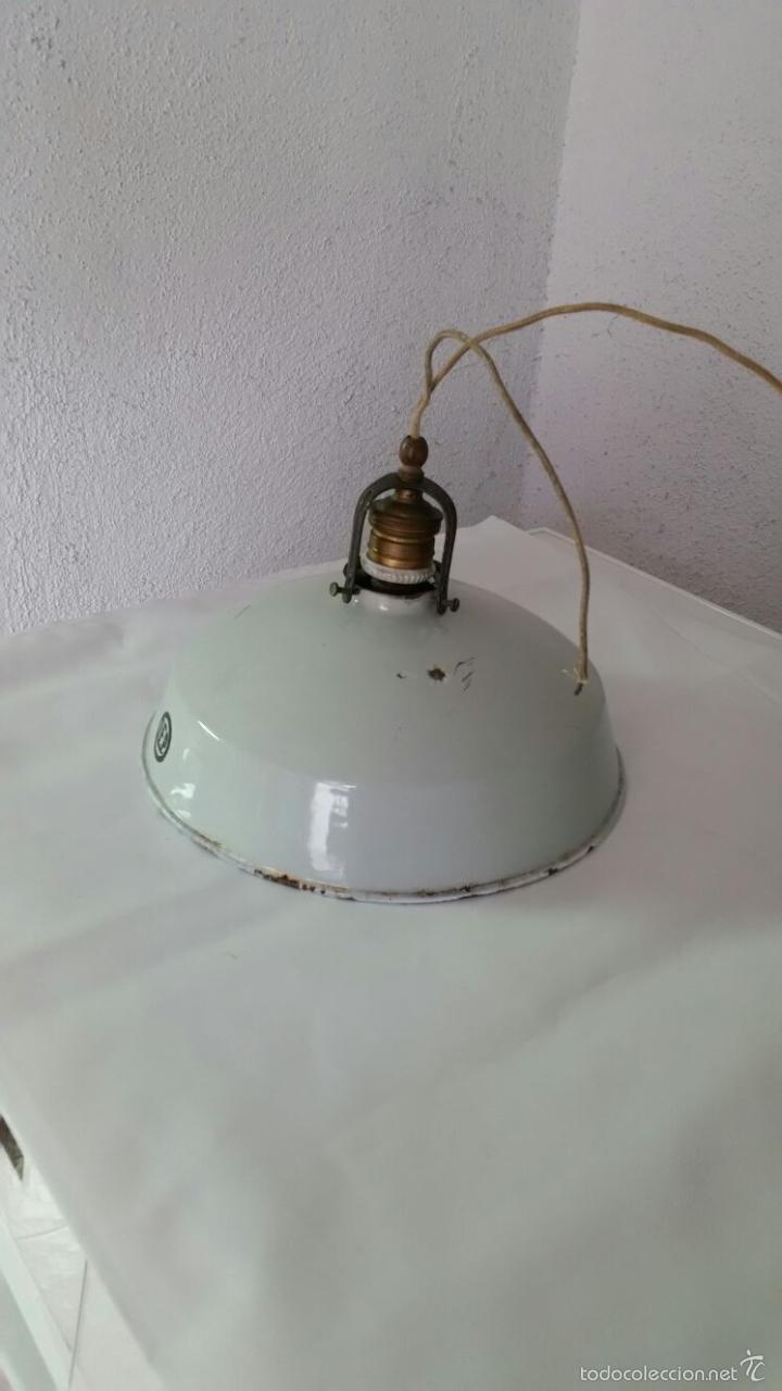 Antigüedades: LAMPARA INDUSTRIAL BUENISIMA MARCA LEP,PANTALLA DE HIERRO ESMALTADO,AÑOS 1915 APROX - Foto 4 - 57743556