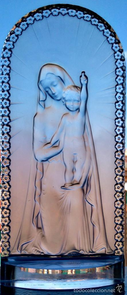 ESCULTURA RELIGIOSA ESTILO ART DECO ,VIDRIO FIRMADO LALIQUE VIRGEN MARIA CON NIÑO JESUS,AÑOS 60-70 (Antigüedades - Cristal y Vidrio - Lalique )