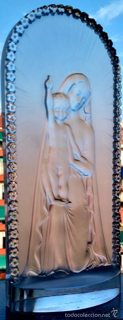 Antigüedades: ESCULTURA RELIGIOSA ESTILO ART DECO ,VIDRIO FIRMADO LALIQUE VIRGEN MARIA CON NIÑO JESUS,AÑOS 60-70 - Foto 3 - 81354994