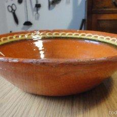Antigüedades: ANTIGUO CUENCO O LEBRILLO.ALFARERIA POPULAR.BARRO VIDRIADO,SIGLO XX.. Lote 57757390