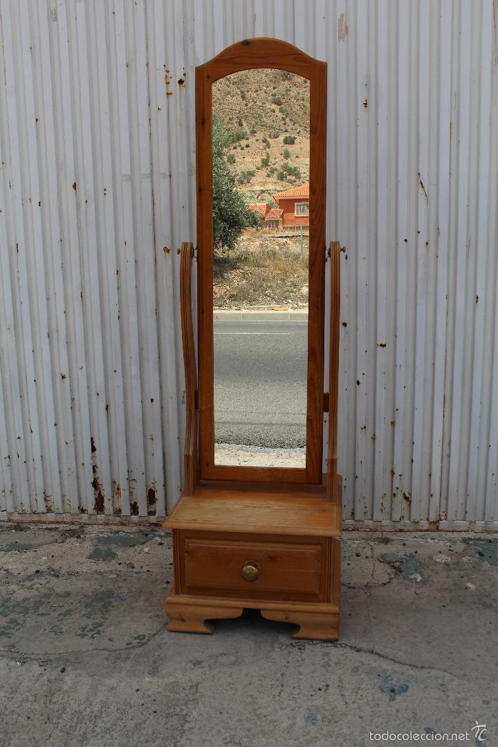 Espejo de pie con cajon en madera de pino comprar for Espejo de pie