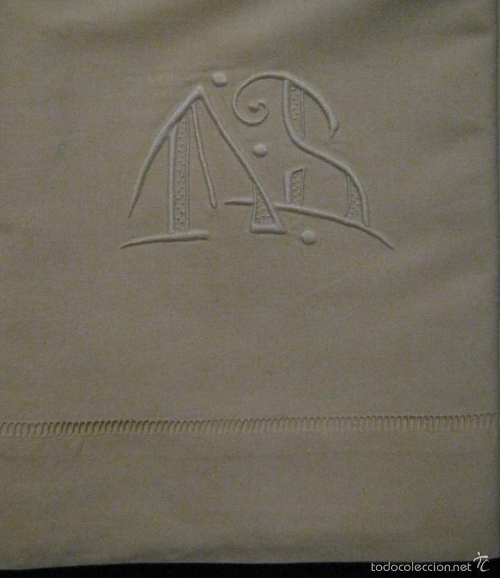 Antigüedades: ANTIGUA SÁBANA DE ALGODÓN CON INICIALES Y. VAINICA PPIO.S - Foto 2 - 57775176