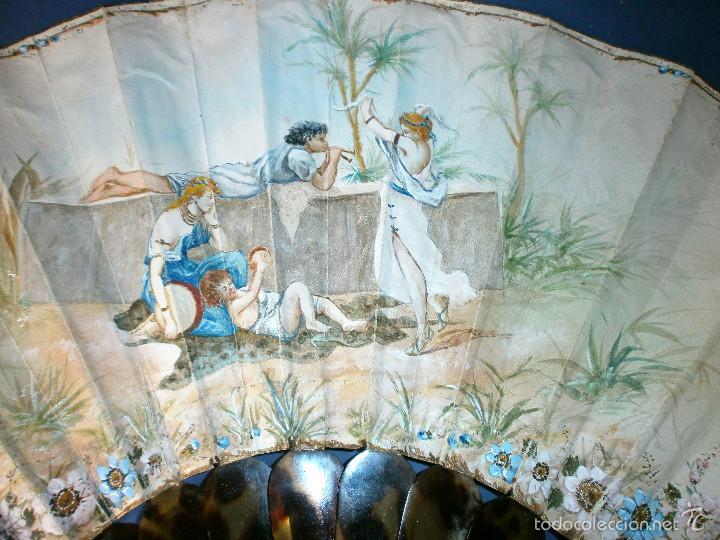 Antigüedades: Abanico pericón de carey y cabritilla, pintado a mano. - Foto 2 - 57799124