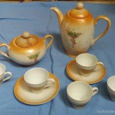 Antigüedades: ANTIGUO JUEGO DE CAFE DE PORCELANA SANTA CLARA. Lote 57807125