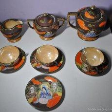 Antigüedades: JUEGO DE TÉ NACARADO PINTADO A MANO. Lote 57810416
