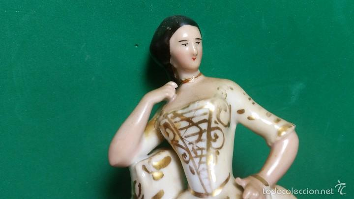 Antigüedades: PRECIOSA Y ANTIGUA FIGURA DE DAMA ÉPOCA ISABELINA 1860-70 PORCELANA ORO - Foto 3 - 57815236