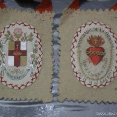 Antigüedades: ESCAPULARIO ANTIGUO DOBLE - APOSTOLADO DE LA ORACION ( PIO IX 14 JULIO 1877 ). Lote 57828783