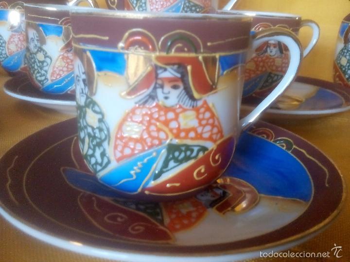 Antigüedades: CASI REGALO. JUEGO TE - CAFÉ JAPONES. PRECIOSO. PINTADO A MANO. DORADOS. CARA GEISHA EN FONDO TAZAS. - Foto 11 - 228615660