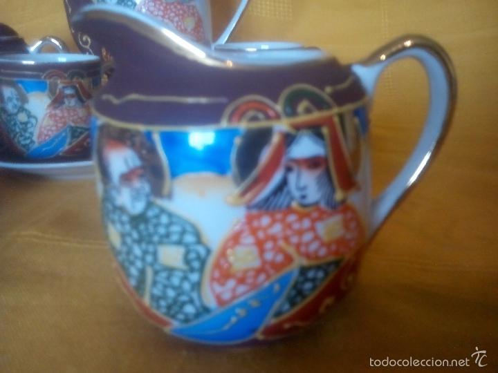 Antigüedades: CASI REGALO. JUEGO TE - CAFÉ JAPONES. PRECIOSO. PINTADO A MANO. DORADOS. CARA GEISHA EN FONDO TAZAS. - Foto 2 - 228615660