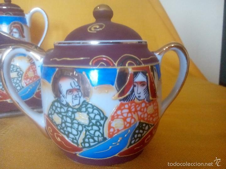 Antigüedades: CASI REGALO. JUEGO TE - CAFÉ JAPONES. PRECIOSO. PINTADO A MANO. DORADOS. CARA GEISHA EN FONDO TAZAS. - Foto 3 - 228615660