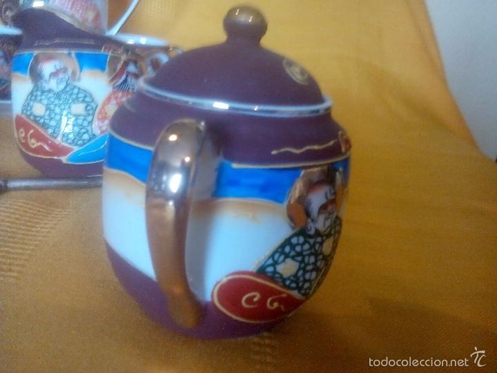 Antigüedades: CASI REGALO. JUEGO TE - CAFÉ JAPONES. PRECIOSO. PINTADO A MANO. DORADOS. CARA GEISHA EN FONDO TAZAS. - Foto 4 - 228615660