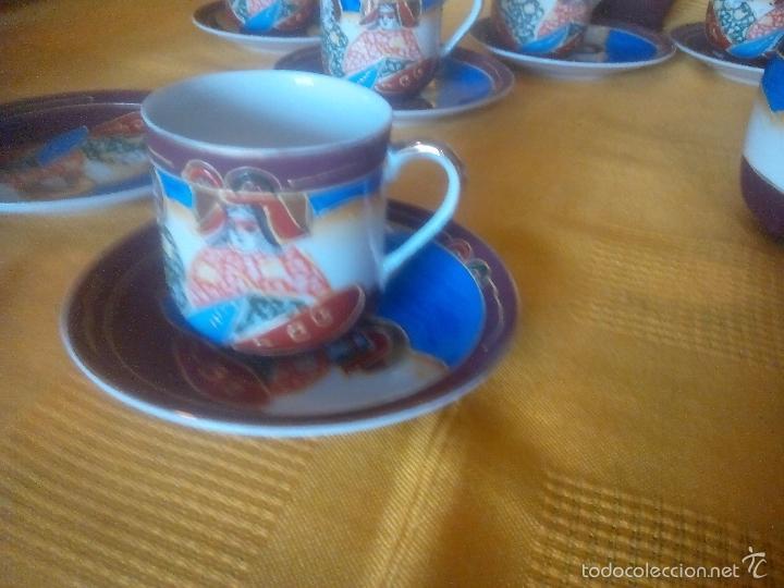 Antigüedades: CASI REGALO. JUEGO TE - CAFÉ JAPONES. PRECIOSO. PINTADO A MANO. DORADOS. CARA GEISHA EN FONDO TAZAS. - Foto 5 - 228615660