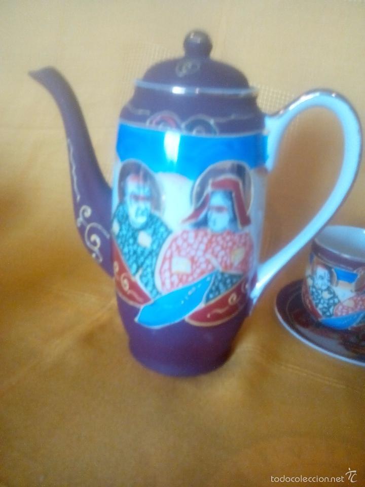 Antigüedades: CASI REGALO. JUEGO TE - CAFÉ JAPONES. PRECIOSO. PINTADO A MANO. DORADOS. CARA GEISHA EN FONDO TAZAS. - Foto 6 - 228615660