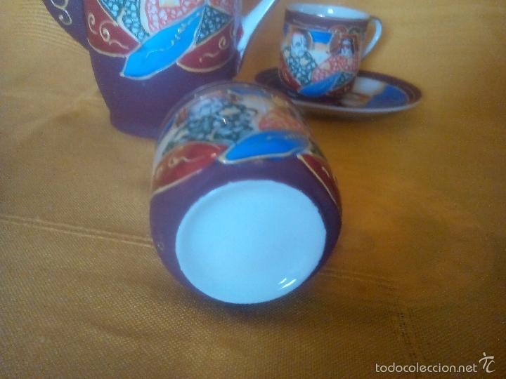 Antigüedades: CASI REGALO. JUEGO TE - CAFÉ JAPONES. PRECIOSO. PINTADO A MANO. DORADOS. CARA GEISHA EN FONDO TAZAS. - Foto 10 - 228615660