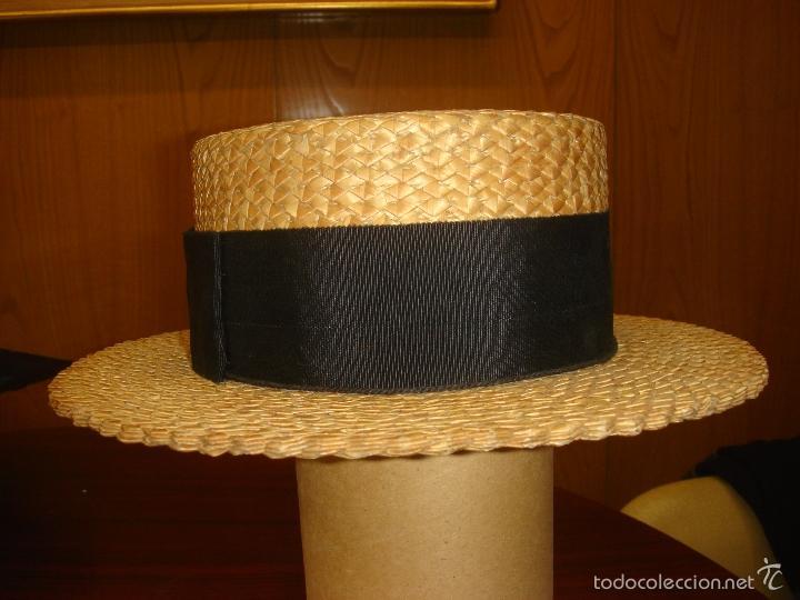 ANTIGUO Y AUTENTICO SOMBRERO DE PAJA CANOTIER. C1920 (Antigüedades - Moda - Sombreros Antiguos)