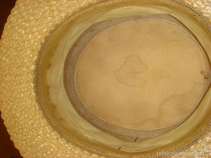 Antigüedades: ANTIGUO Y AUTENTICO SOMBRERO DE PAJA CANOTIER. C1920 - Foto 9 - 57846569