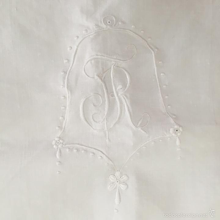 Antigüedades: ANTIGUA FUNDA PARA COJIN DE HILO. CUADRANTE PARA CAMA - Foto 4 - 57852130