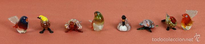 COLECCION DE 8 FIGURAS DE ANIMALES. CRISTAL DE MURANO. AÑOS 50. (Antigüedades - Cristal y Vidrio - Murano)