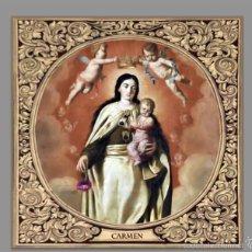 Antigüedades: BONITO AZULEJO 10X10 DE LA VIRGEN DEL CARMEN CON GRECA.. Lote 57864353