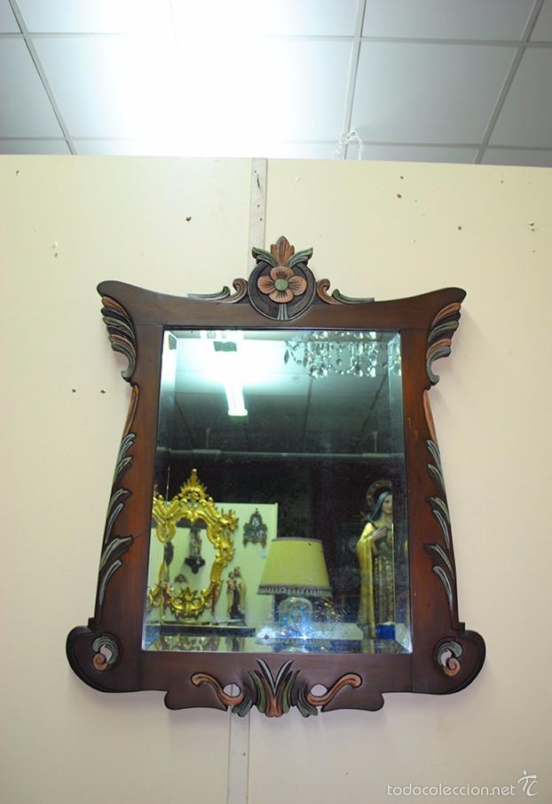 Antigüedades: ESPEJO ANTIGUO DE MADERA, ESTILO ISABELINO - Foto 2 - 57871086