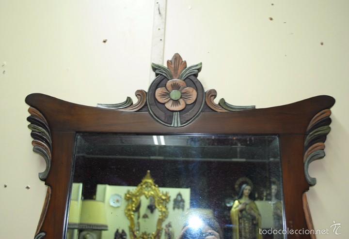 Antigüedades: ESPEJO ANTIGUO DE MADERA, ESTILO ISABELINO - Foto 3 - 57871086
