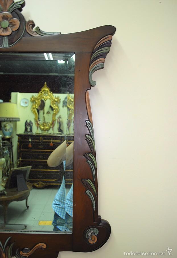 Antigüedades: ESPEJO ANTIGUO DE MADERA, ESTILO ISABELINO - Foto 4 - 57871086
