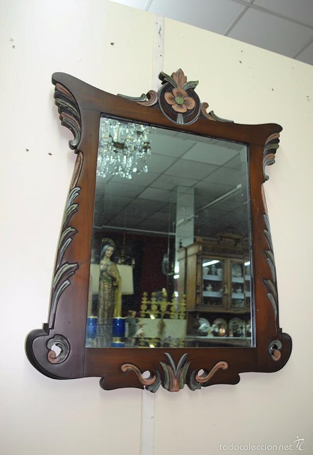 Antigüedades: ESPEJO ANTIGUO DE MADERA, ESTILO ISABELINO - Foto 6 - 57871086