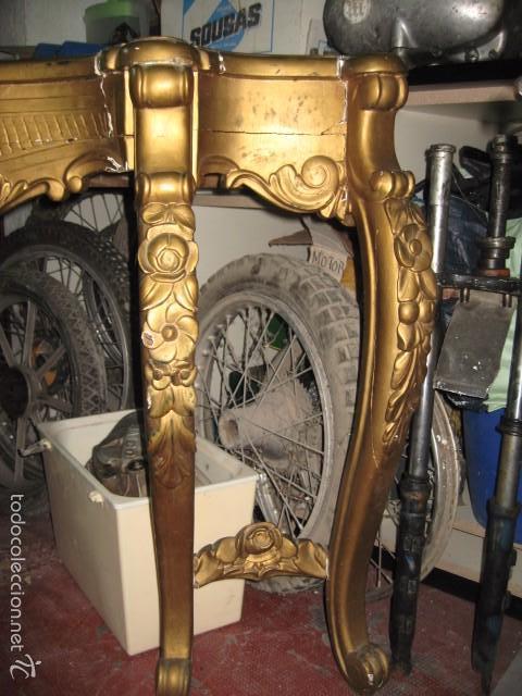 Antigüedades: Antigua consola, sin mármol, para restaurar. Solo recogida en tienda sin embalaje.Dorado oro - Foto 2 - 116061311