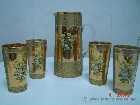 JARRA DE CRISTAL VENECIANO Y 4 VASOS (Antigüedades - Cristal y Vidrio - Murano)