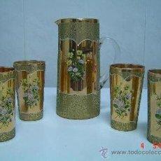 Antigüedades: JARRA DE CRISTAL VENECIANO Y 4 VASOS. Lote 24191514