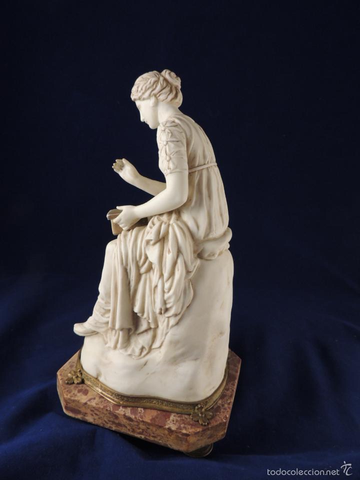 Antigüedades: FANTASTICA FIGURA DE PORCELANA SOBRE BASE DE MARMOL S. XIX - Foto 6 - 57900556