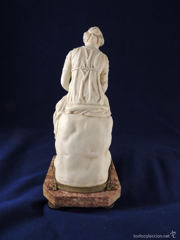 Antigüedades: FANTASTICA FIGURA DE PORCELANA SOBRE BASE DE MARMOL S. XIX - Foto 7 - 57900556