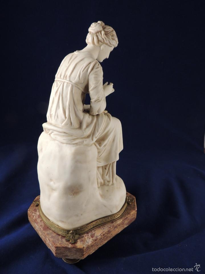 Antigüedades: FANTASTICA FIGURA DE PORCELANA SOBRE BASE DE MARMOL S. XIX - Foto 8 - 57900556