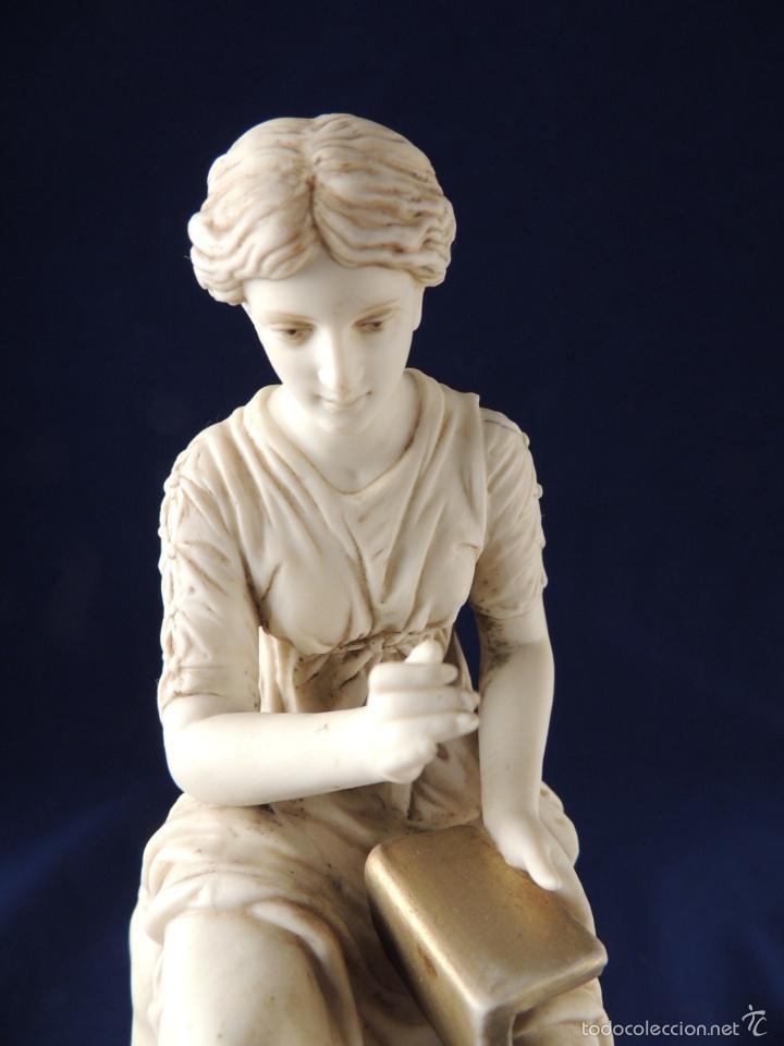 Antigüedades: FANTASTICA FIGURA DE PORCELANA SOBRE BASE DE MARMOL S. XIX - Foto 12 - 57900556