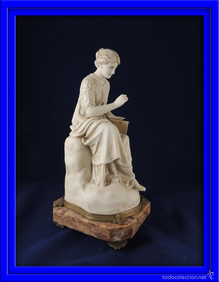 FANTASTICA FIGURA DE PORCELANA SOBRE BASE DE MARMOL S. XIX (Antigüedades - Porcelana y Cerámica - Francesa - Limoges)