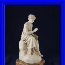 Antigüedades: FANTASTICA FIGURA DE PORCELANA SOBRE BASE DE MARMOL S. XIX. Lote 57900556