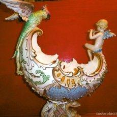 Antigüedades: FANTASTICA E IRREPTIBLE NAVETA O CENTRO XIX, ANGEL MUSICO Y LORO, EICHWALD, GRANDES ALT 52 CMS. Lote 57906090