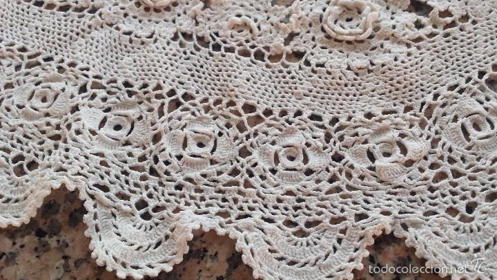 Antigüedades: antiguo tapete a ganchillo en beig - Foto 2 - 57916696