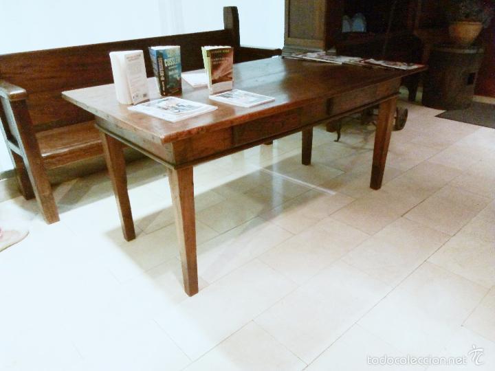 Antigua mesa rustica de madera de casta o res comprar - Madera de castano ...
