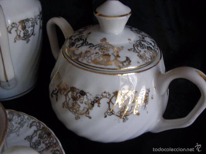 Antigüedades: JUEGO DE CAFE ROYAL POLA GIJÓN CON PORCELANA BLANCA Y CENEFA EN ORO - Foto 5 - 57946221