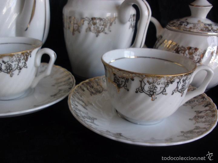 Antigüedades: JUEGO DE CAFE ROYAL POLA GIJÓN CON PORCELANA BLANCA Y CENEFA EN ORO - Foto 7 - 57946221