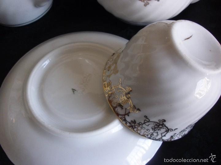 Antigüedades: JUEGO DE CAFE ROYAL POLA GIJÓN CON PORCELANA BLANCA Y CENEFA EN ORO - Foto 8 - 57946221