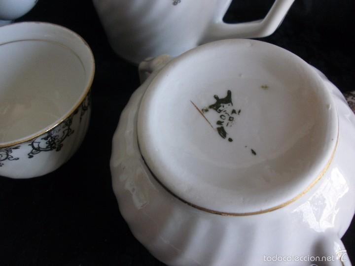 Antigüedades: JUEGO DE CAFE ROYAL POLA GIJÓN CON PORCELANA BLANCA Y CENEFA EN ORO - Foto 9 - 57946221