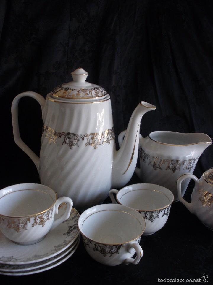 Antigüedades: JUEGO DE CAFE ROYAL POLA GIJÓN CON PORCELANA BLANCA Y CENEFA EN ORO - Foto 12 - 57946221
